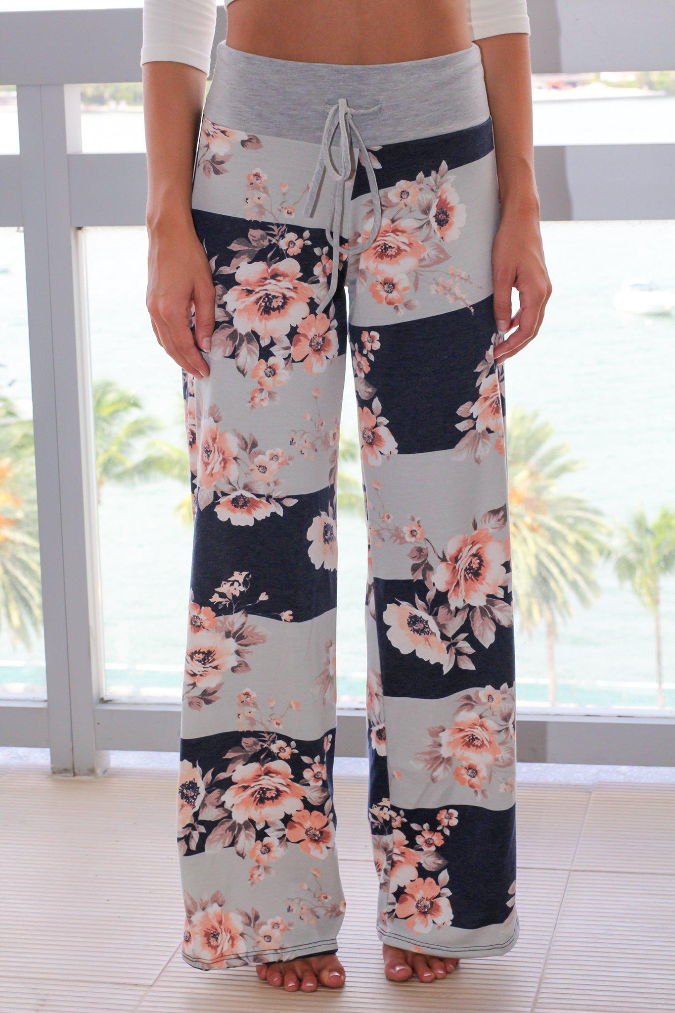Navy Floral Striped Pants