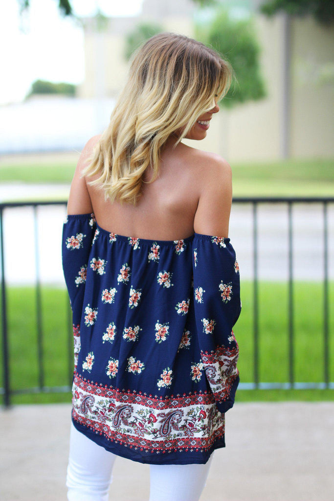 Navy Floral Off Shoulder Top