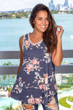 Navy Floral Top with Crochet Trim