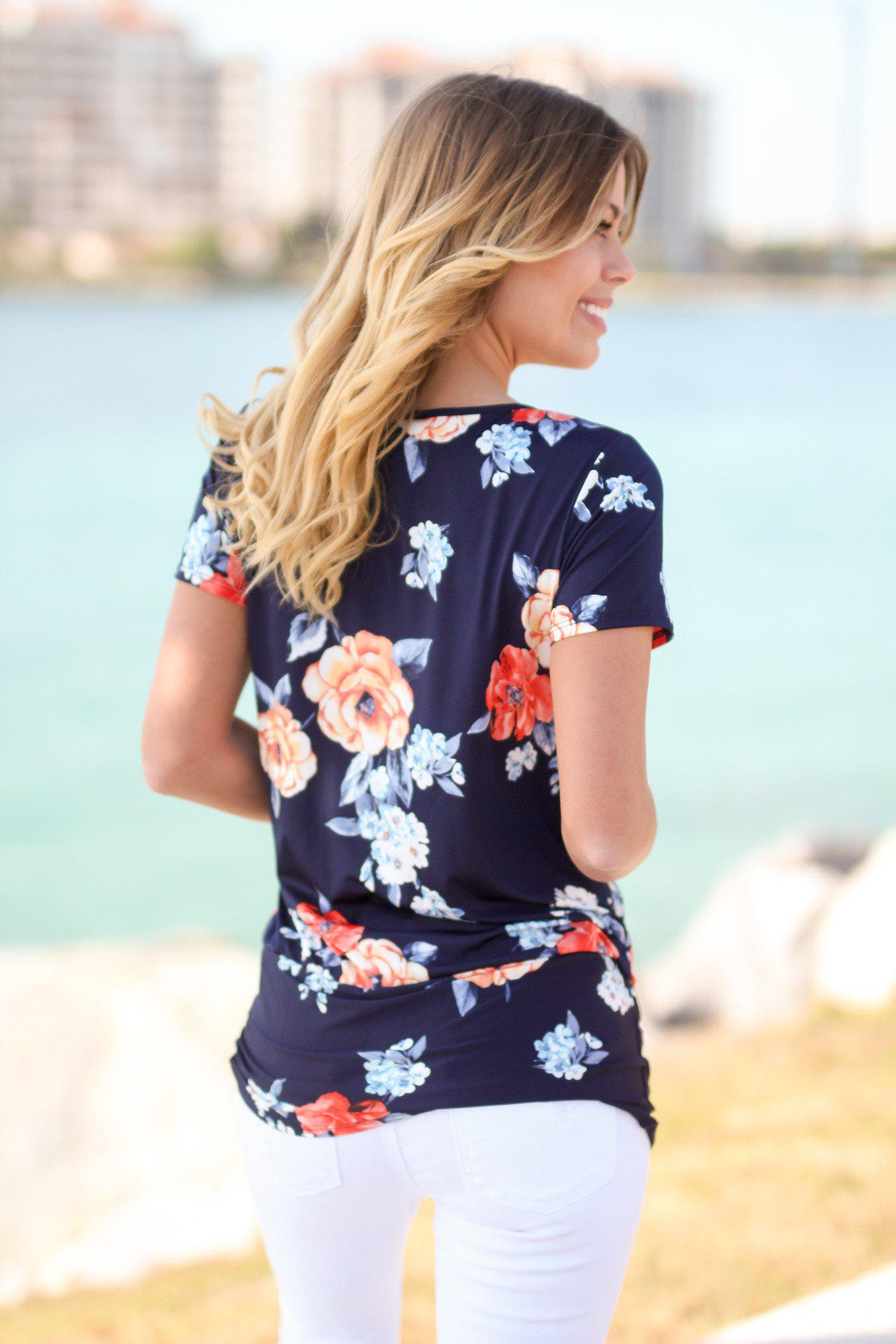 Navy Floral Top with Knot