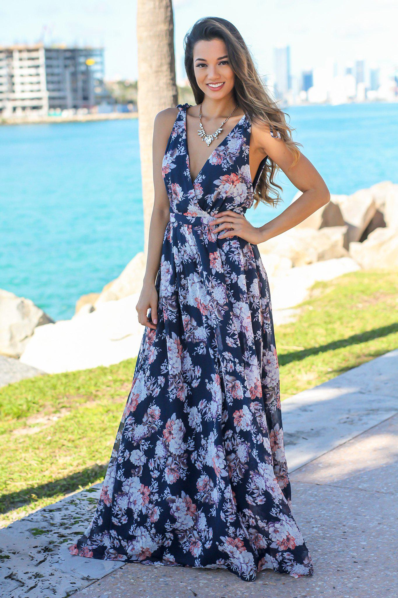 Navy Floral V-Neck Sleeveless Maxi Dress