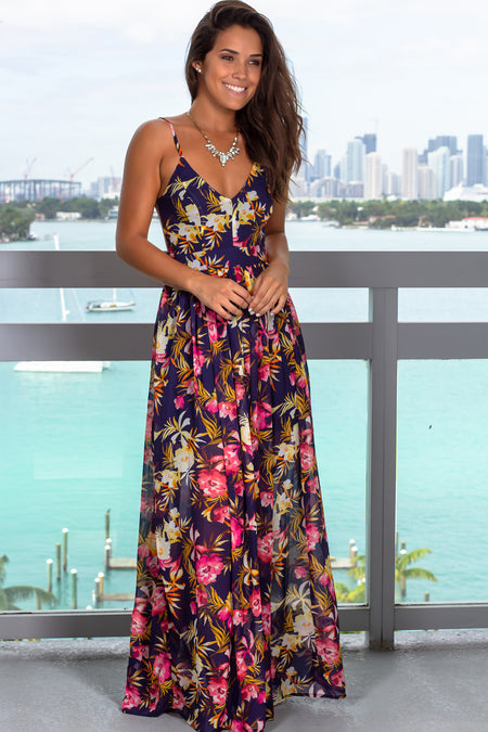 Navy Floral V-Neck Maxi Dress with Open Back