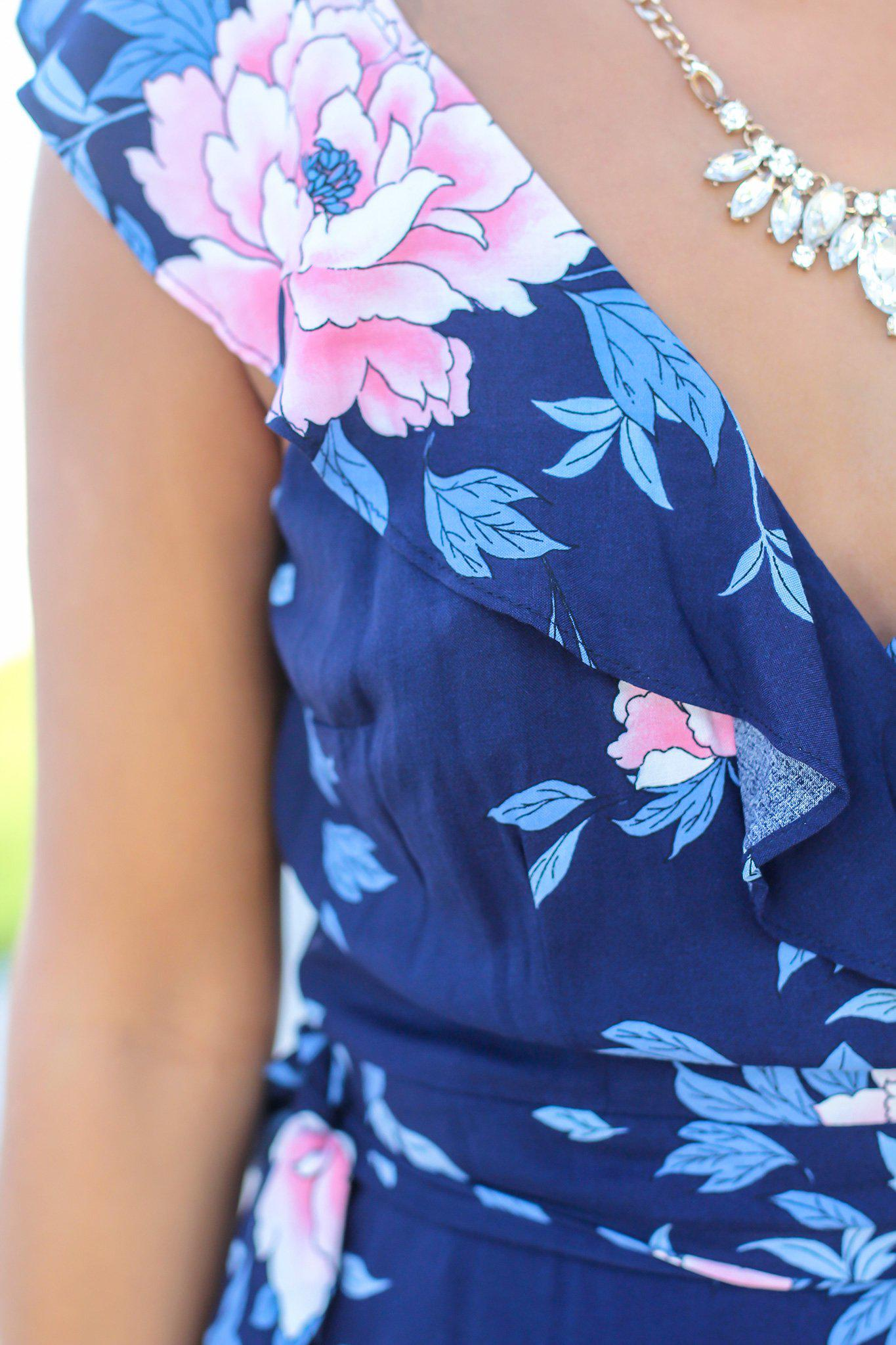 Navy Floral Wrap Dress with Ruffle Sleeves