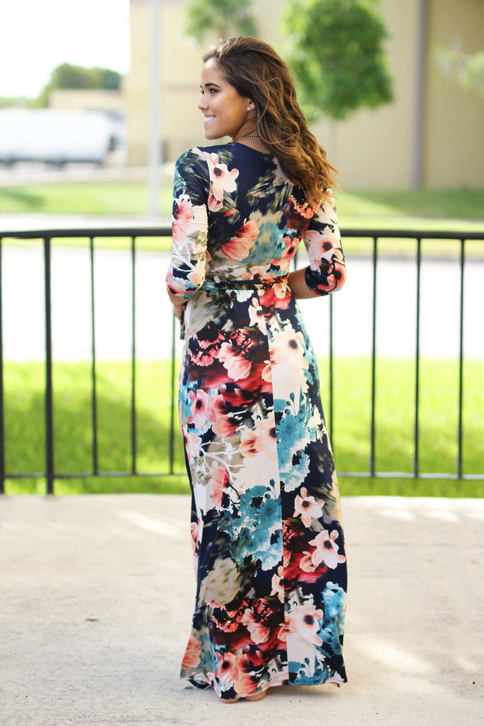 floral navy long dress