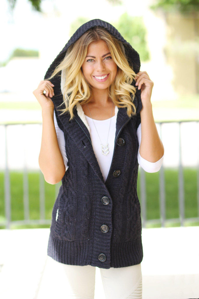Navy Fur Sweater Vest With Hoodie