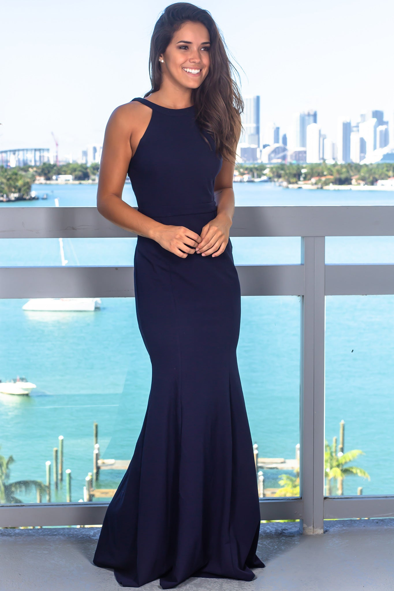 Navy Halter Neck Maxi Dress with Embroidered Detail