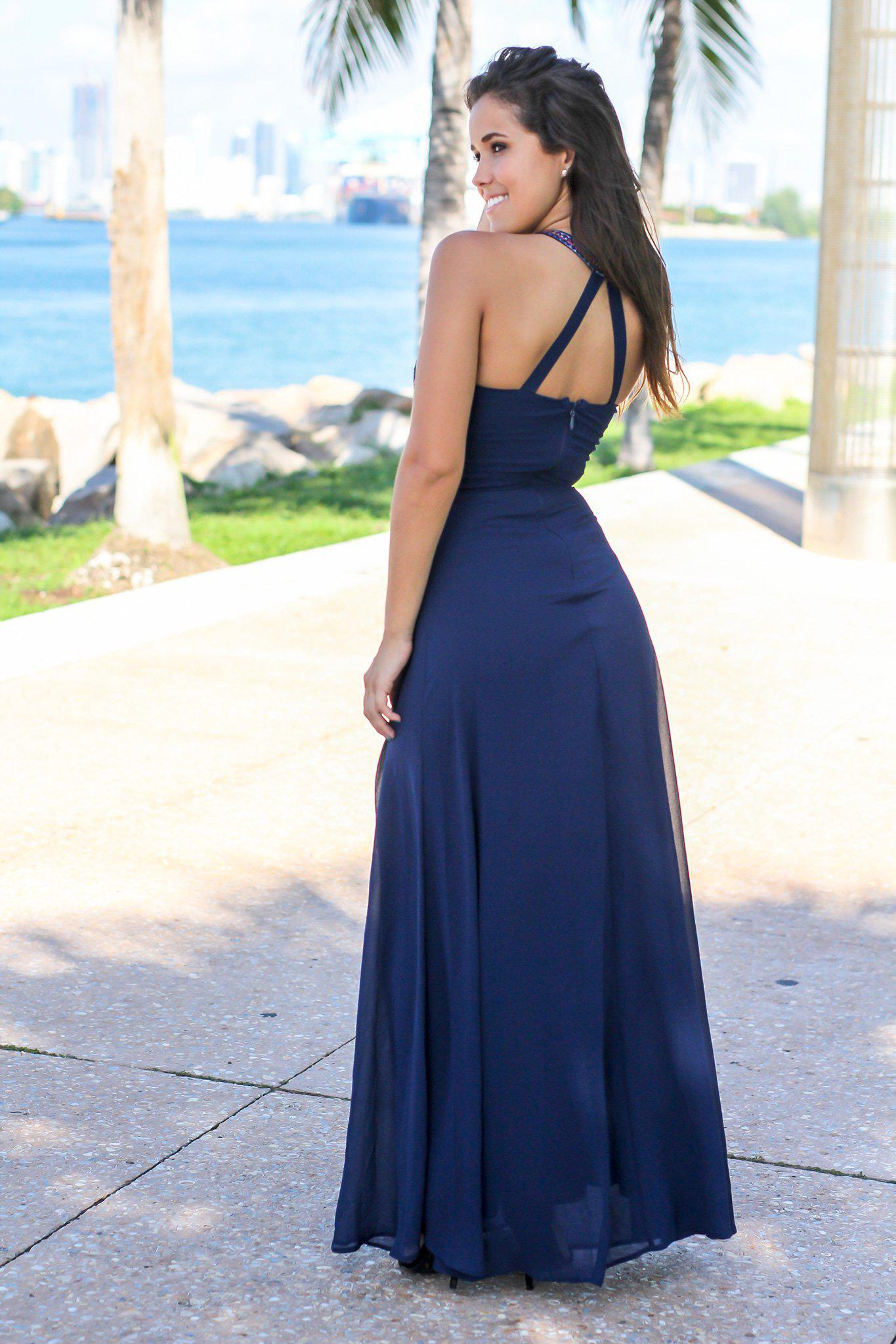 Navy Halter Neck Maxi Dress with Embroidered Top