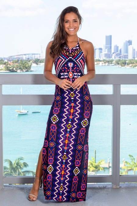 Navy Halter Neck Tribal Maxi Dress