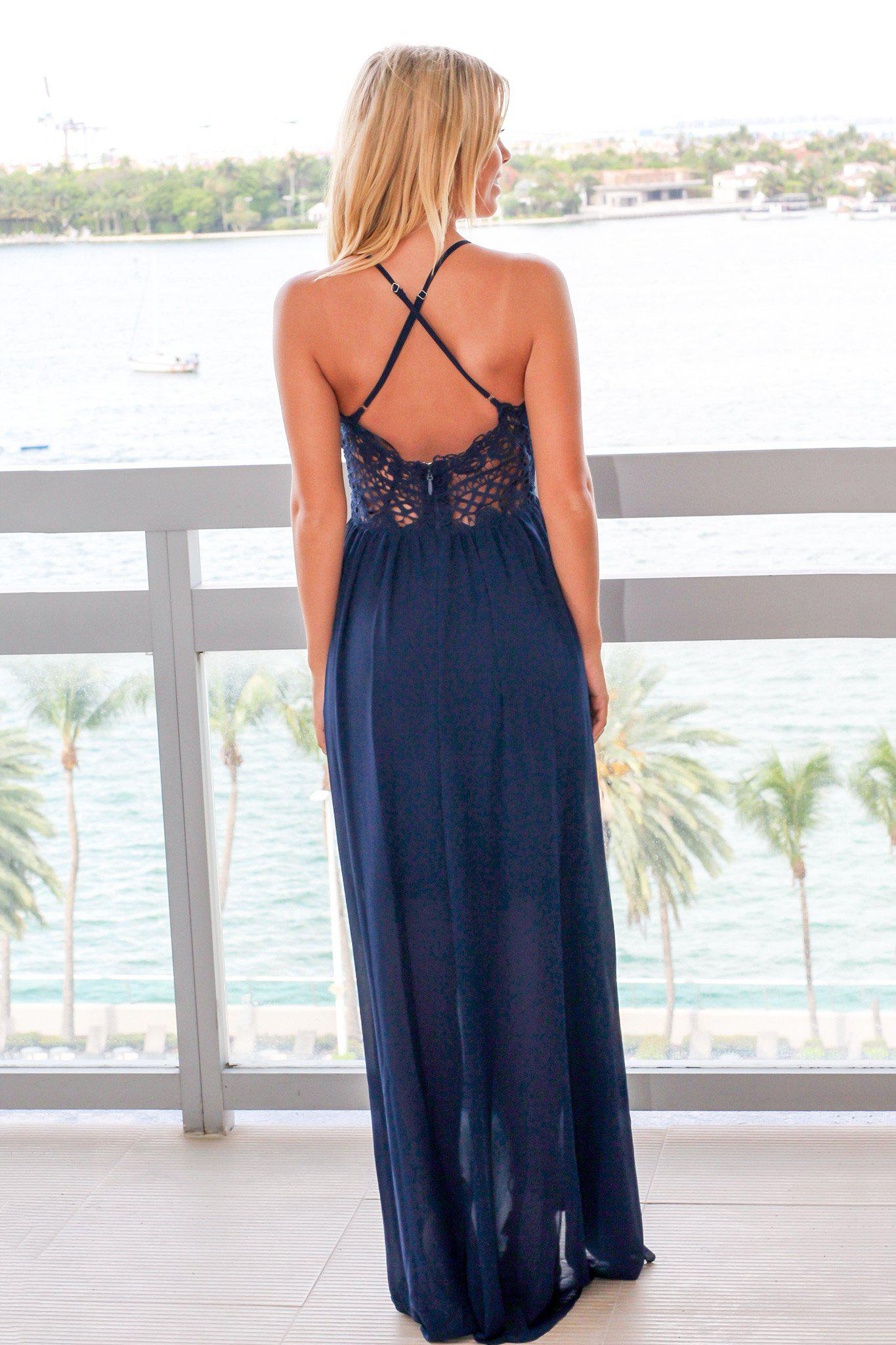 Navy High Low Dress with Crochet Top