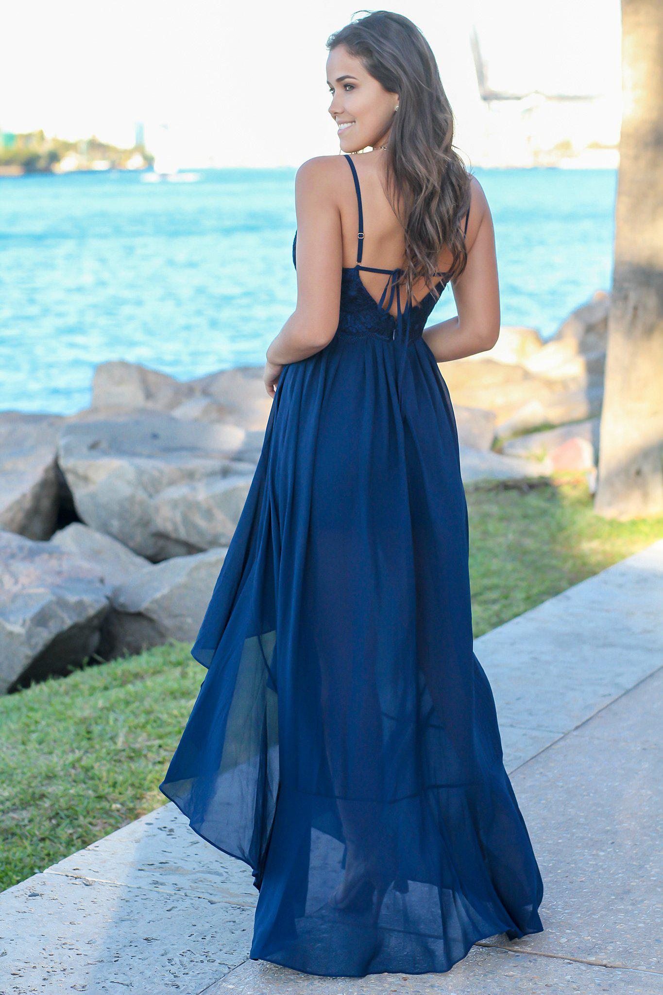 Navy High Low Dress with Embroidered Top