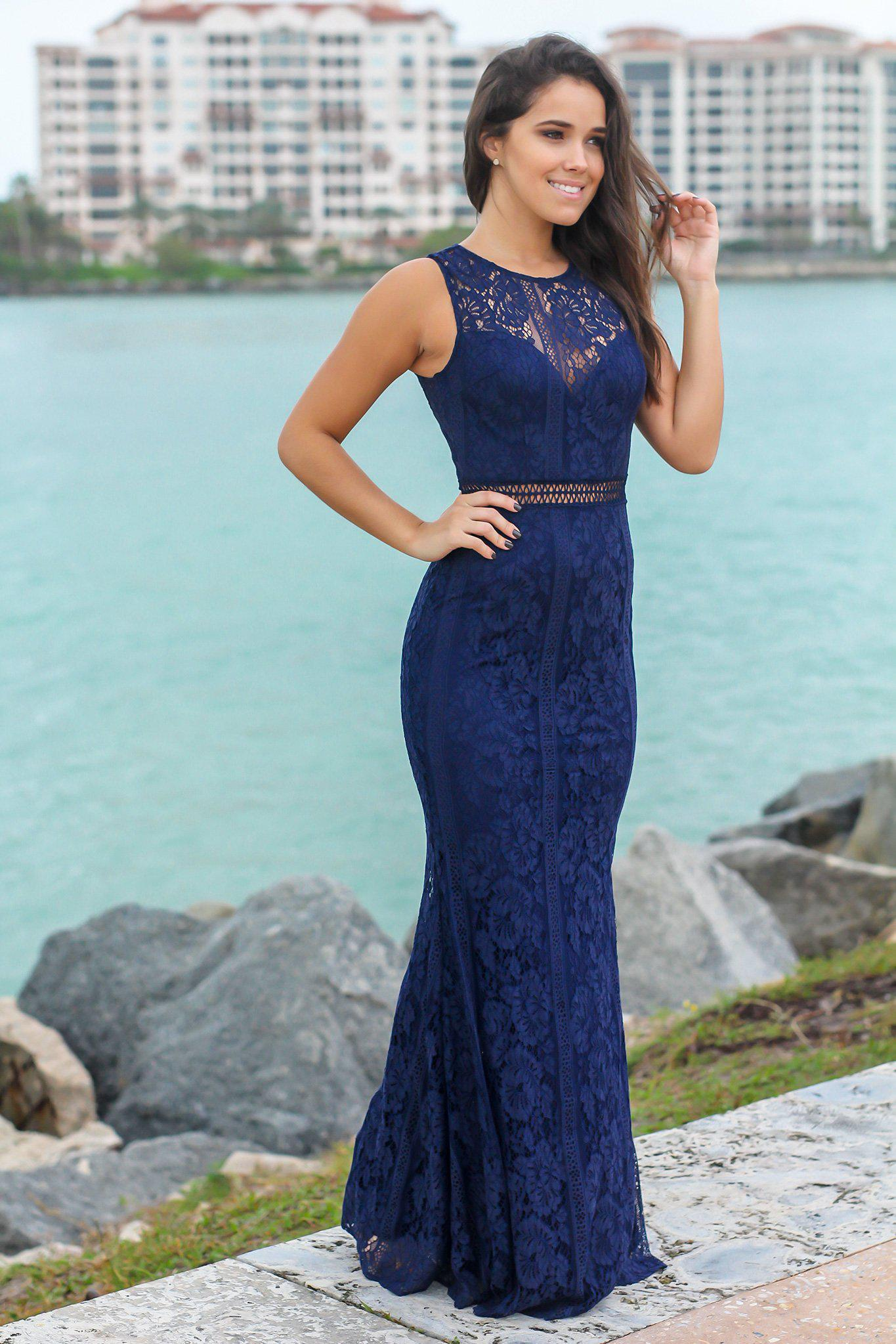 Navy High Neck Lace Maxi Dress | Formal Dresses – Saved by the Dress