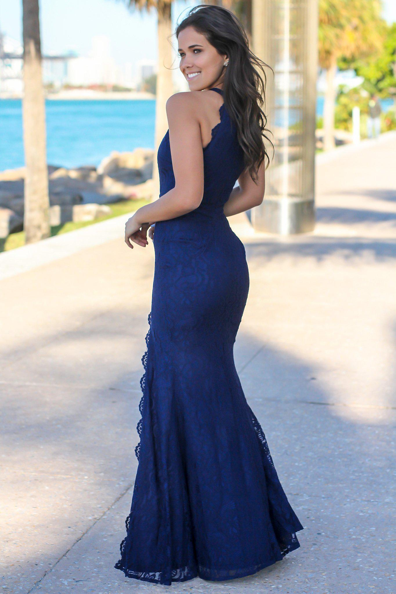 Navy High Neck Lace Maxi Dress with Side Slit