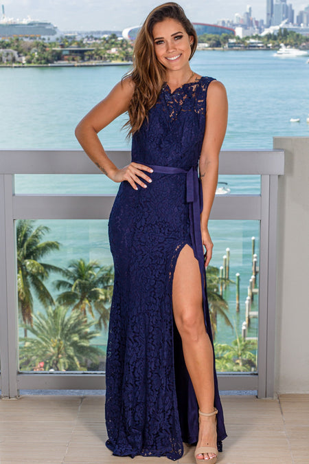 Navy High Neck Lace Maxi Dress with Tie Waist