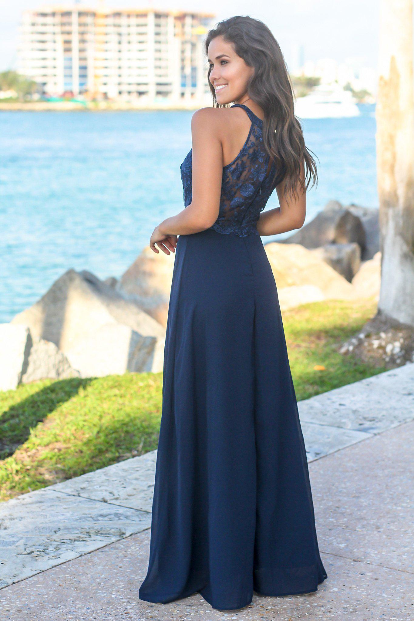Navy High Neck Maxi Dress with Embroidered Top and Slit