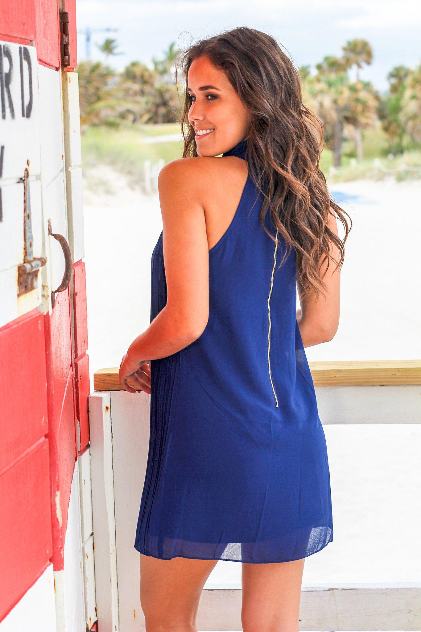 Navy High Neck Pleated Dress