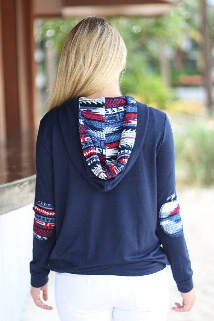 navy hoodie with elbow patches
