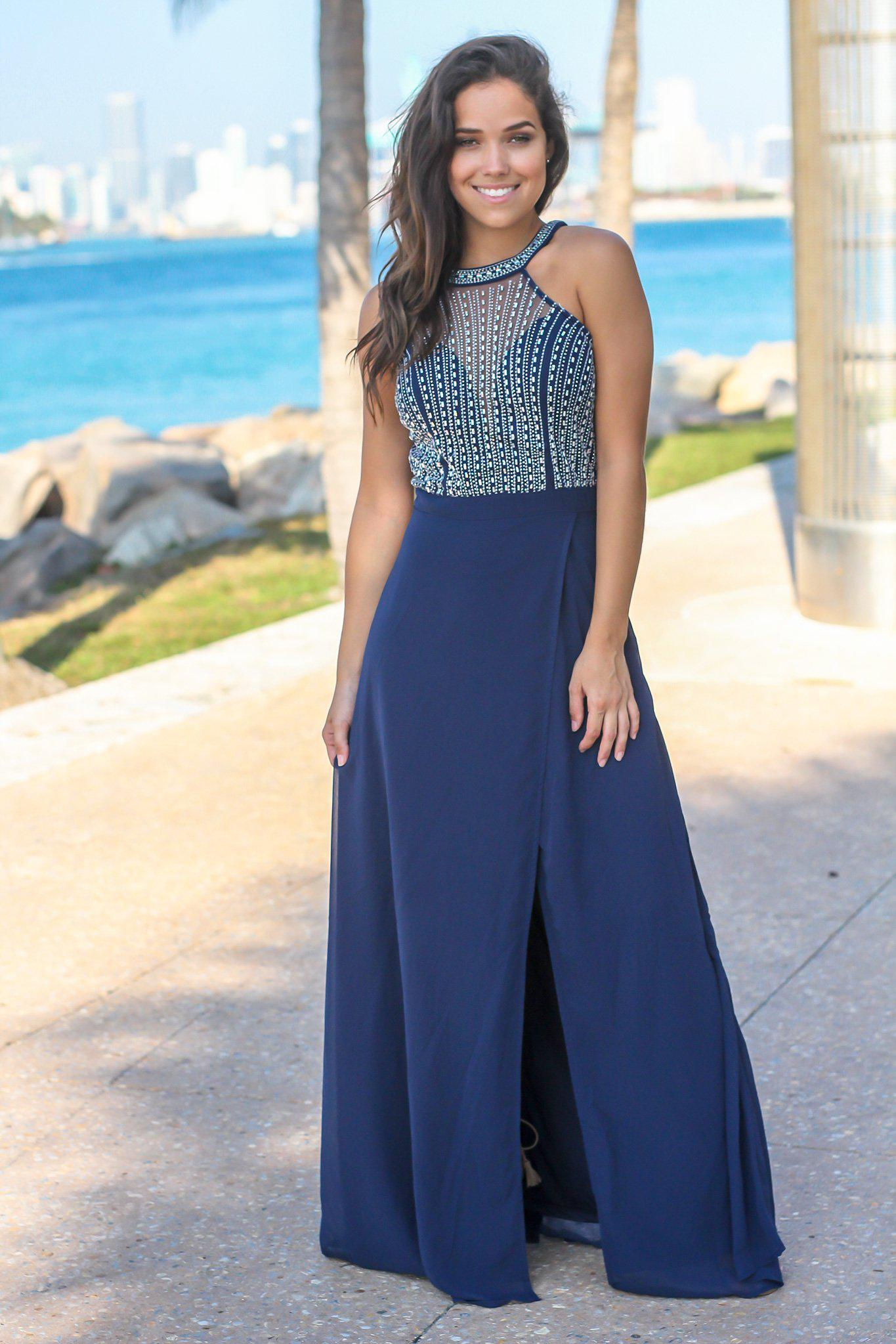Navy Jeweled Top Maxi Dress with Tulle Back