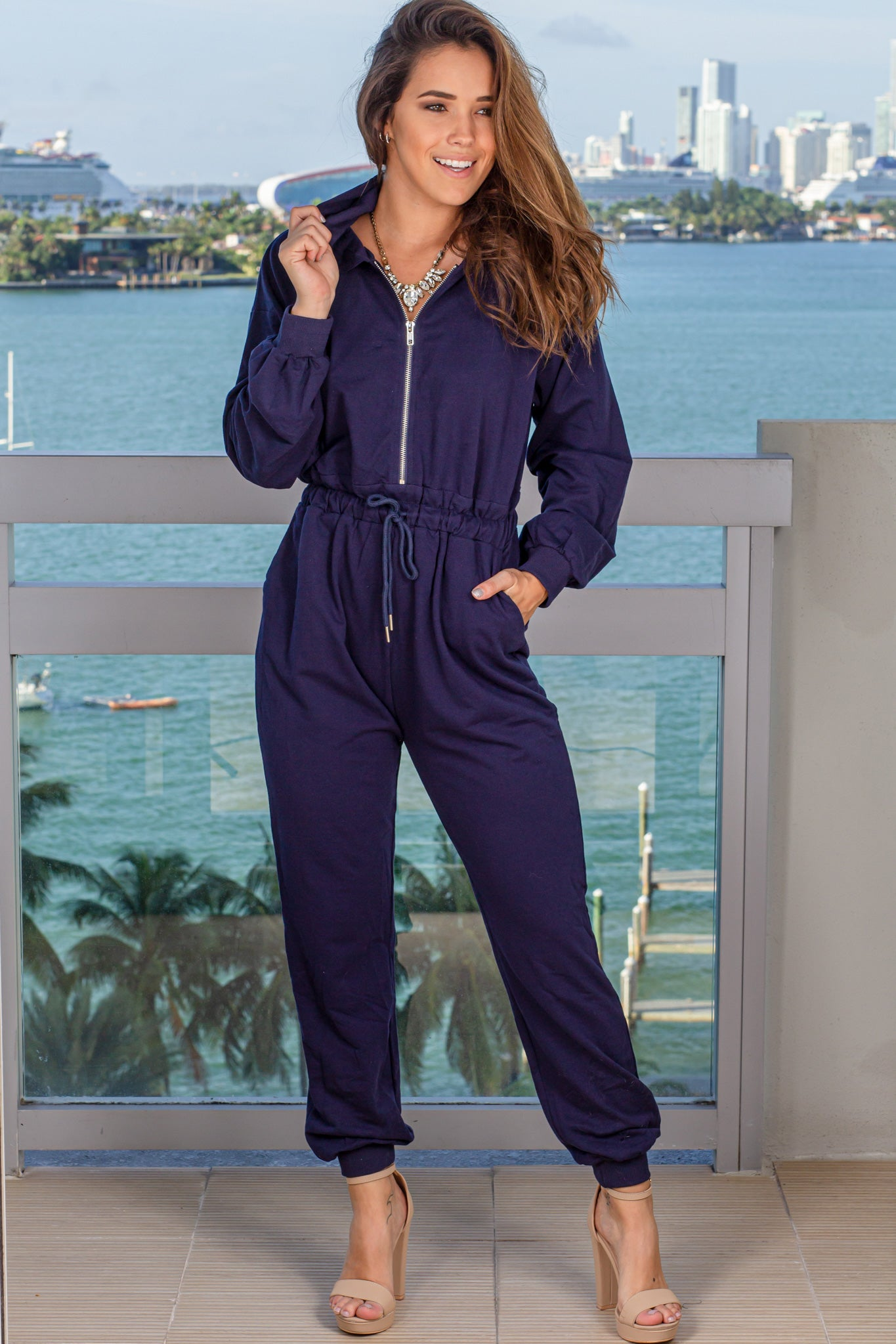 Navy Jumpsuit with Hood