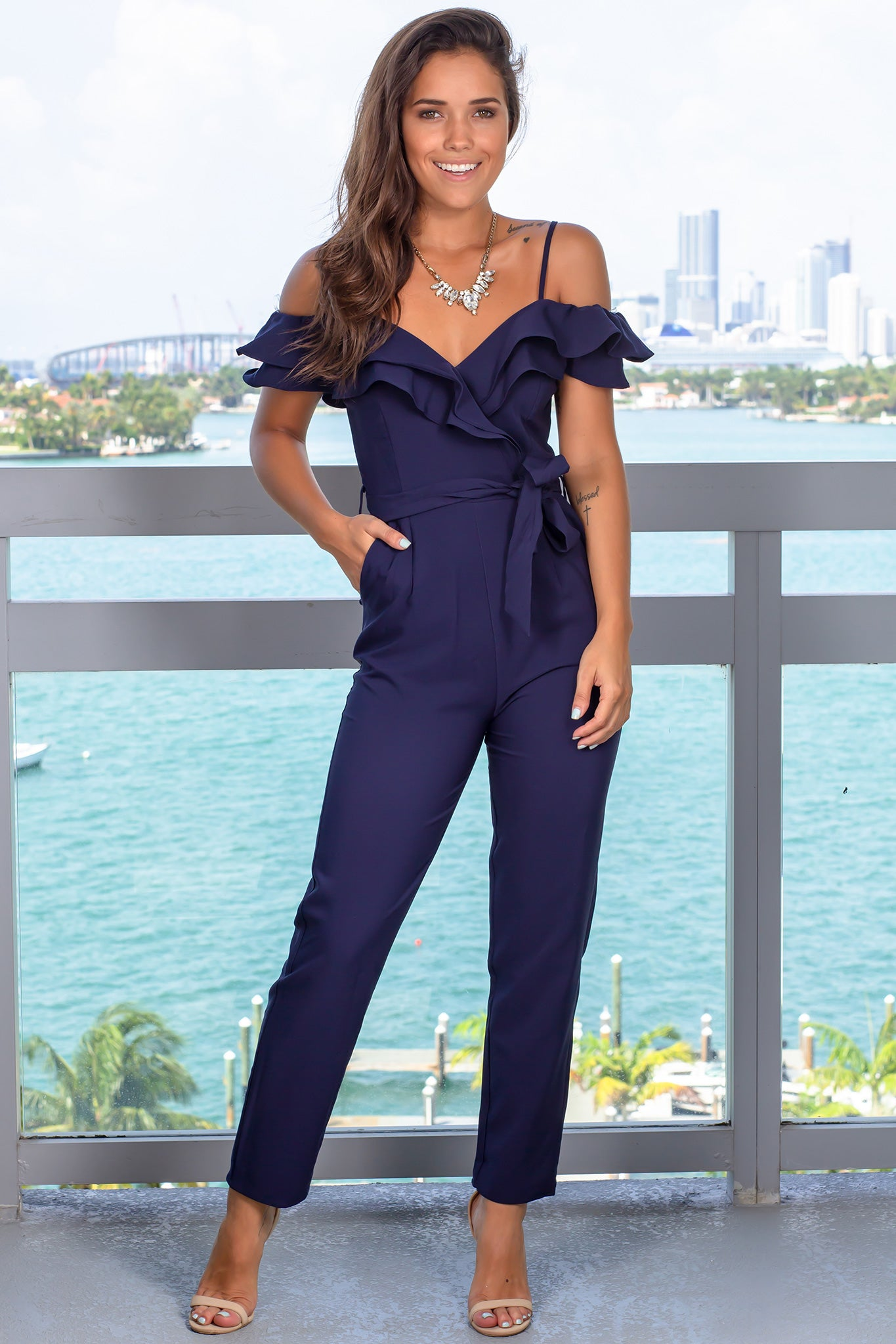 Navy Jumpsuit with Ruffled Top