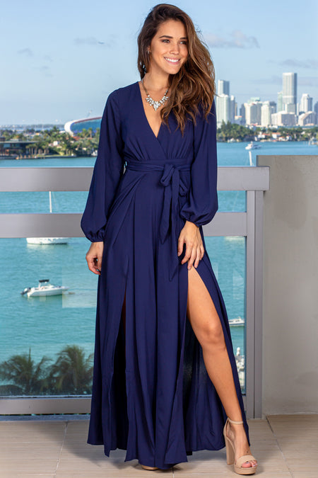 Navy Jumpsuit with Slit