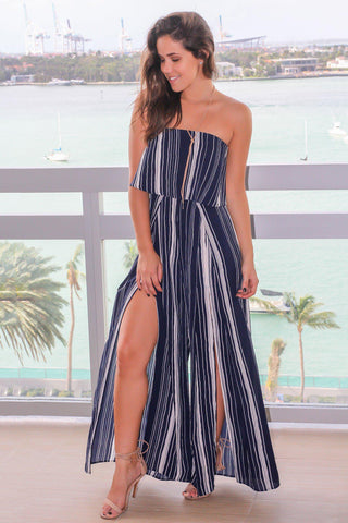 Navy Strapless Striped Jumpsuit