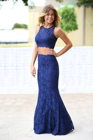 Navy Lace Crop Top and Skirt Set