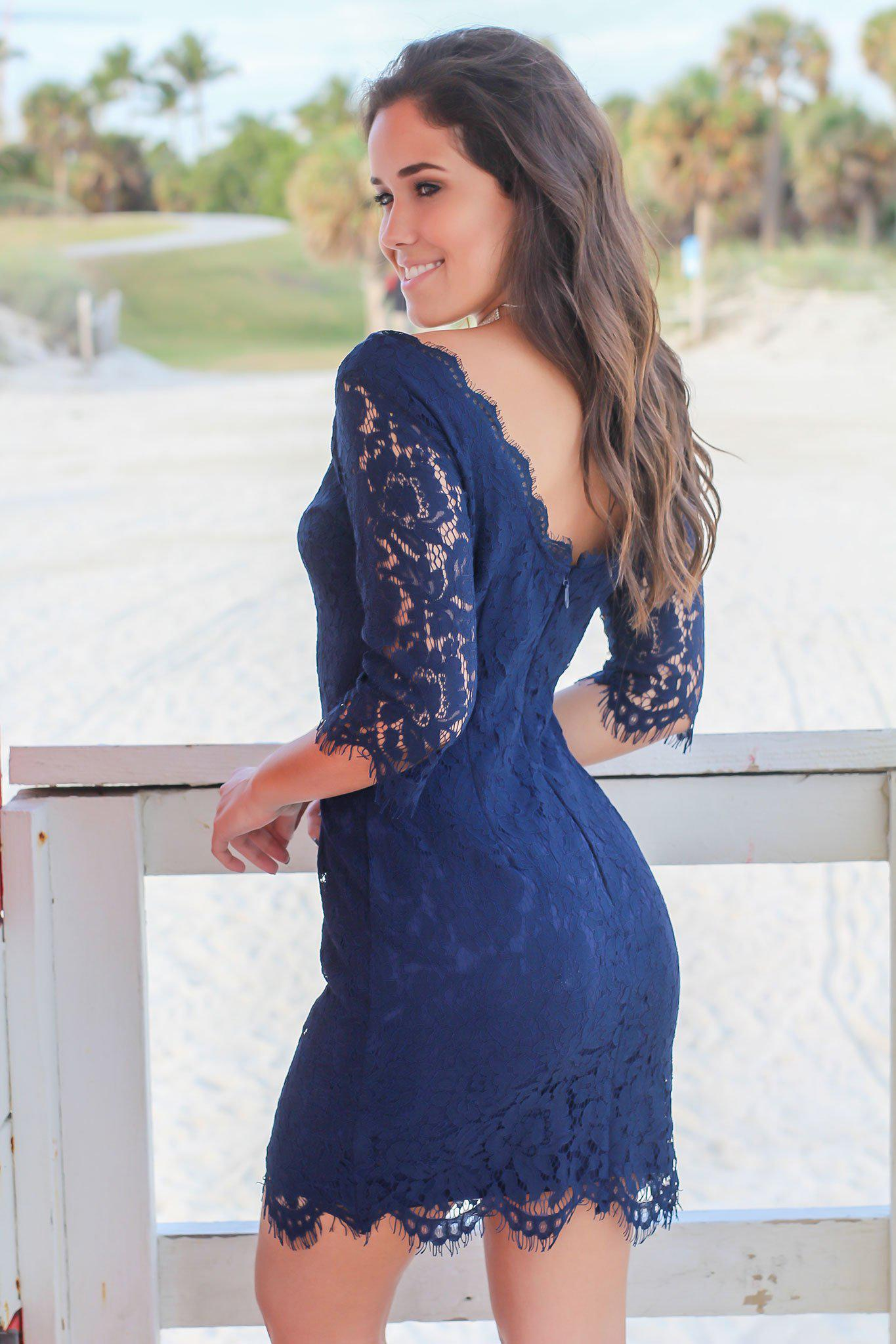 Navy Lace Dress with 3/4 Sleeves