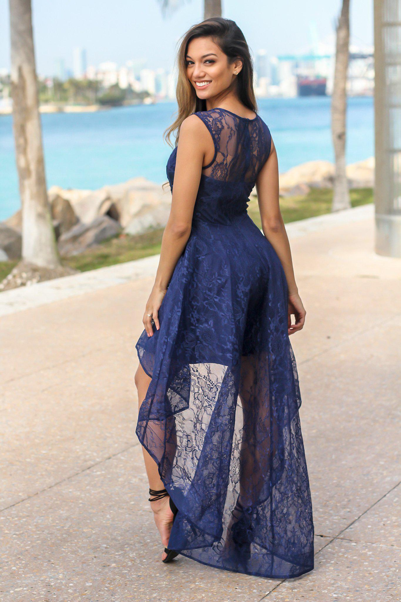 Navy Lace High Low Dress