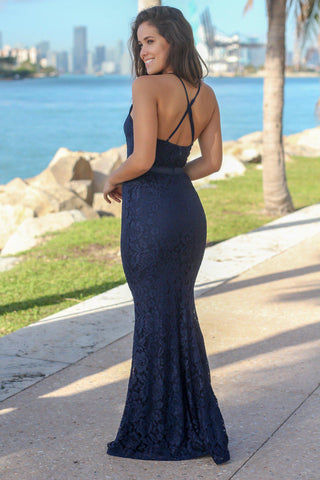 Navy Lace Maxi Dress with Criss Cross Back