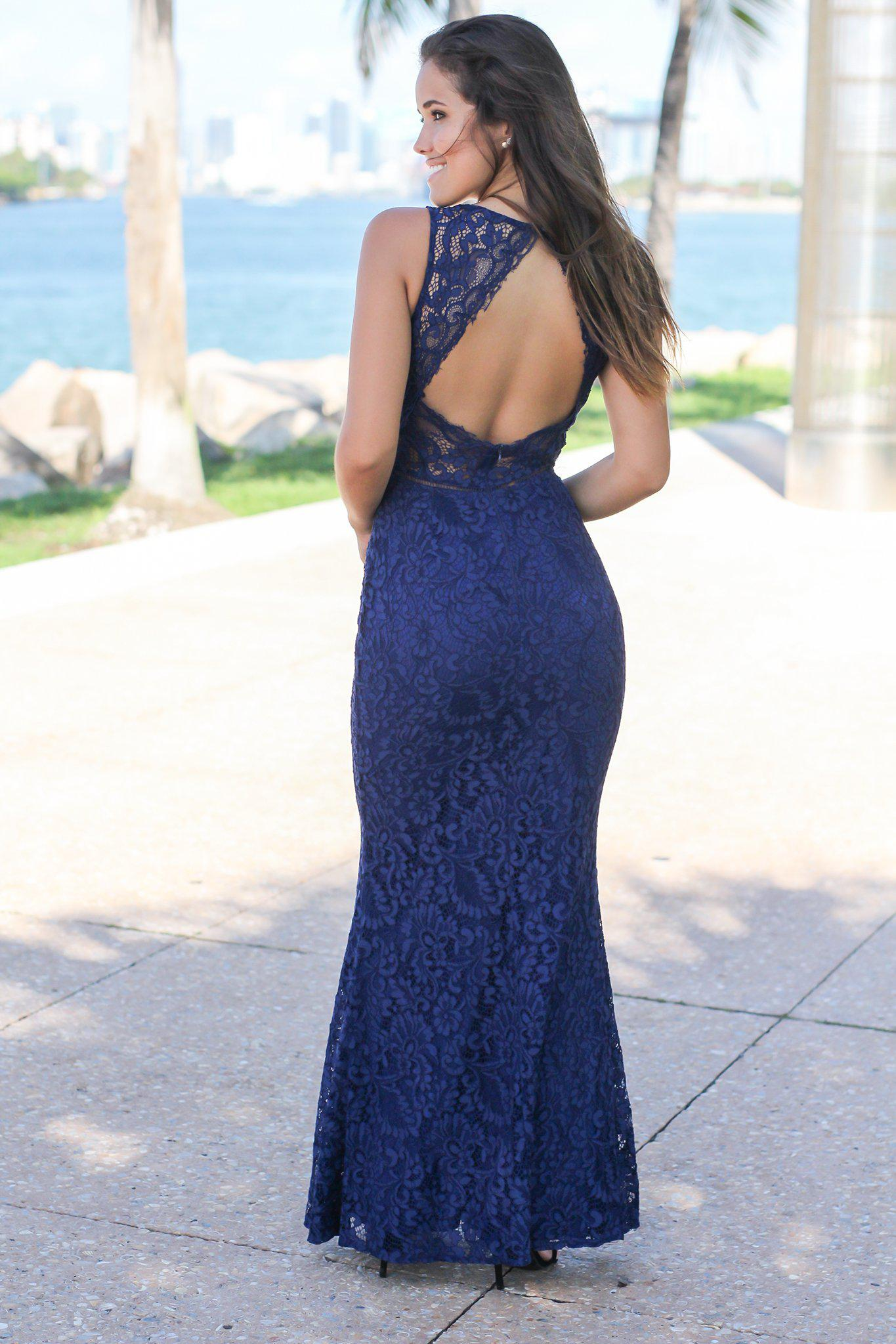 Navy Lace Maxi Dress with Mesh V-Neck