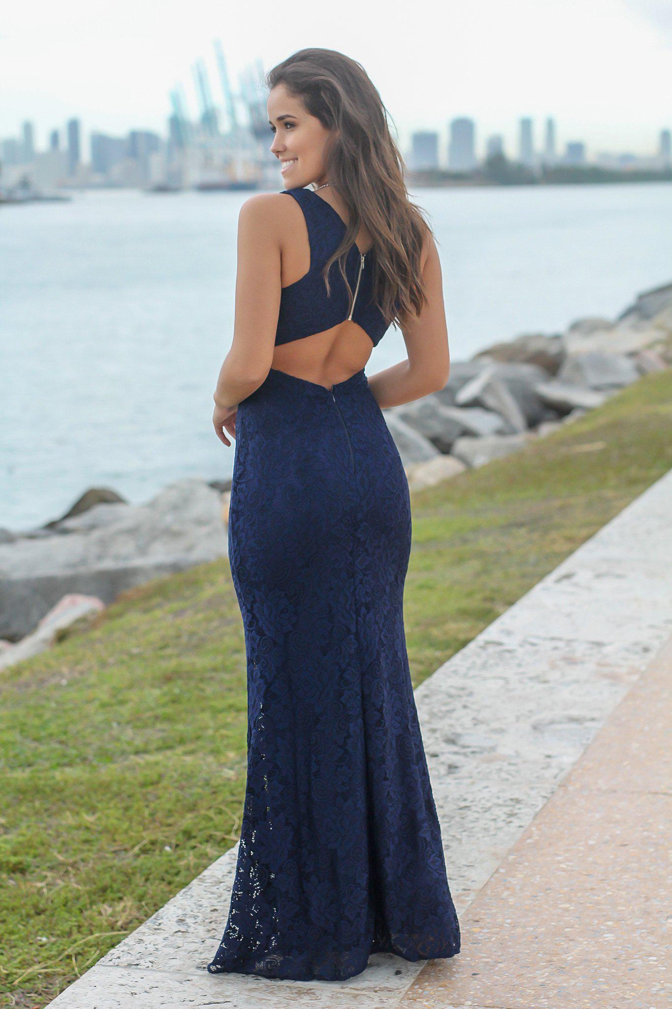Navy lace maxi dress with open back bridesmaid dresses saved bridesmaid dresses navy lace maxi dress with open back ombrellifo Image collections
