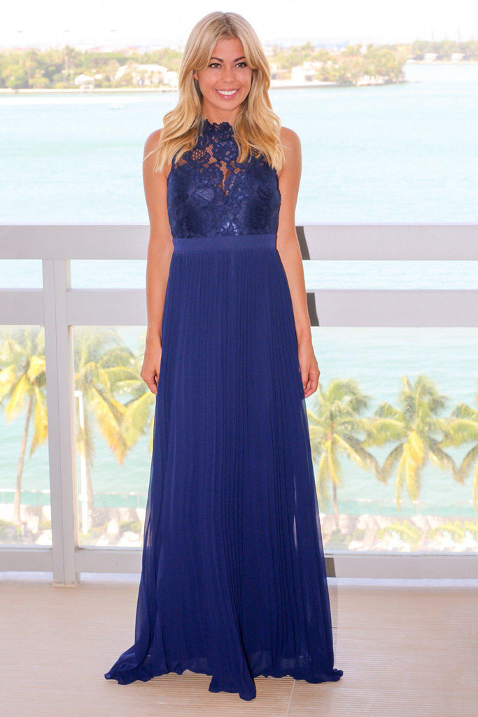 navy lace maxi dress with pleated skirt bridesmaid