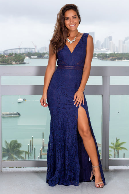 Navy Lace Maxi Dress with Side Slit