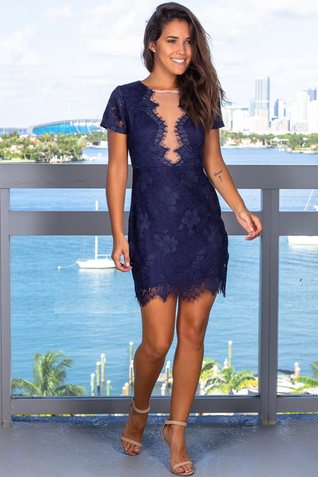 Navy Lace Short Dress with Mesh Detail