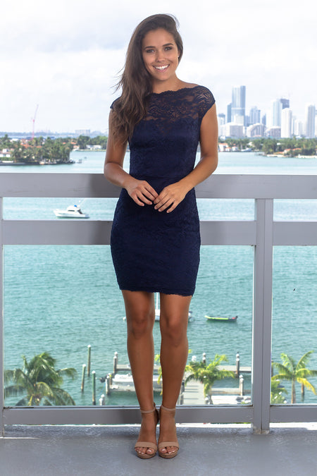 Navy Lace Sleeveless Short Dress