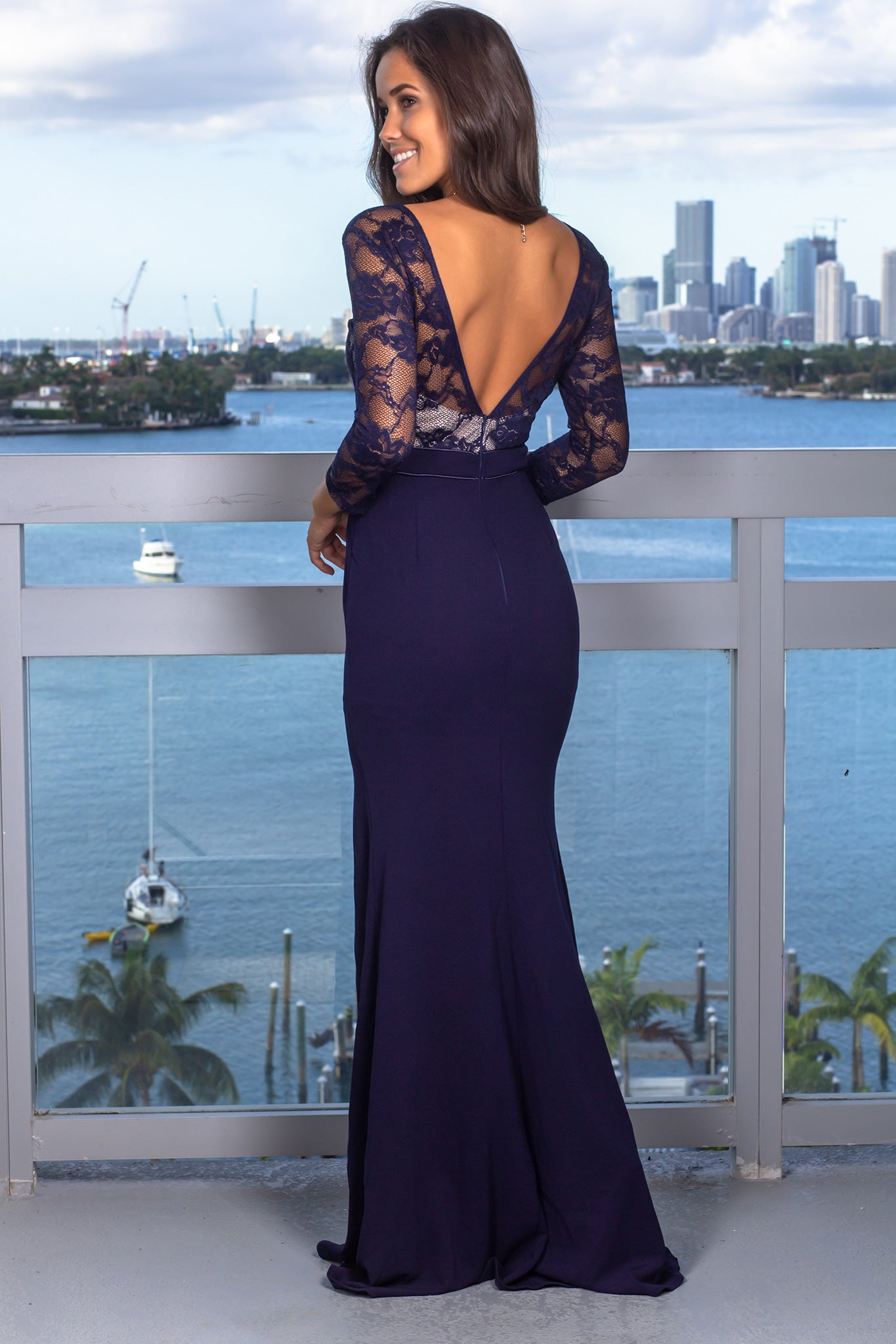 Navy Lace Top Maxi Dress with 3/4 Sleeves