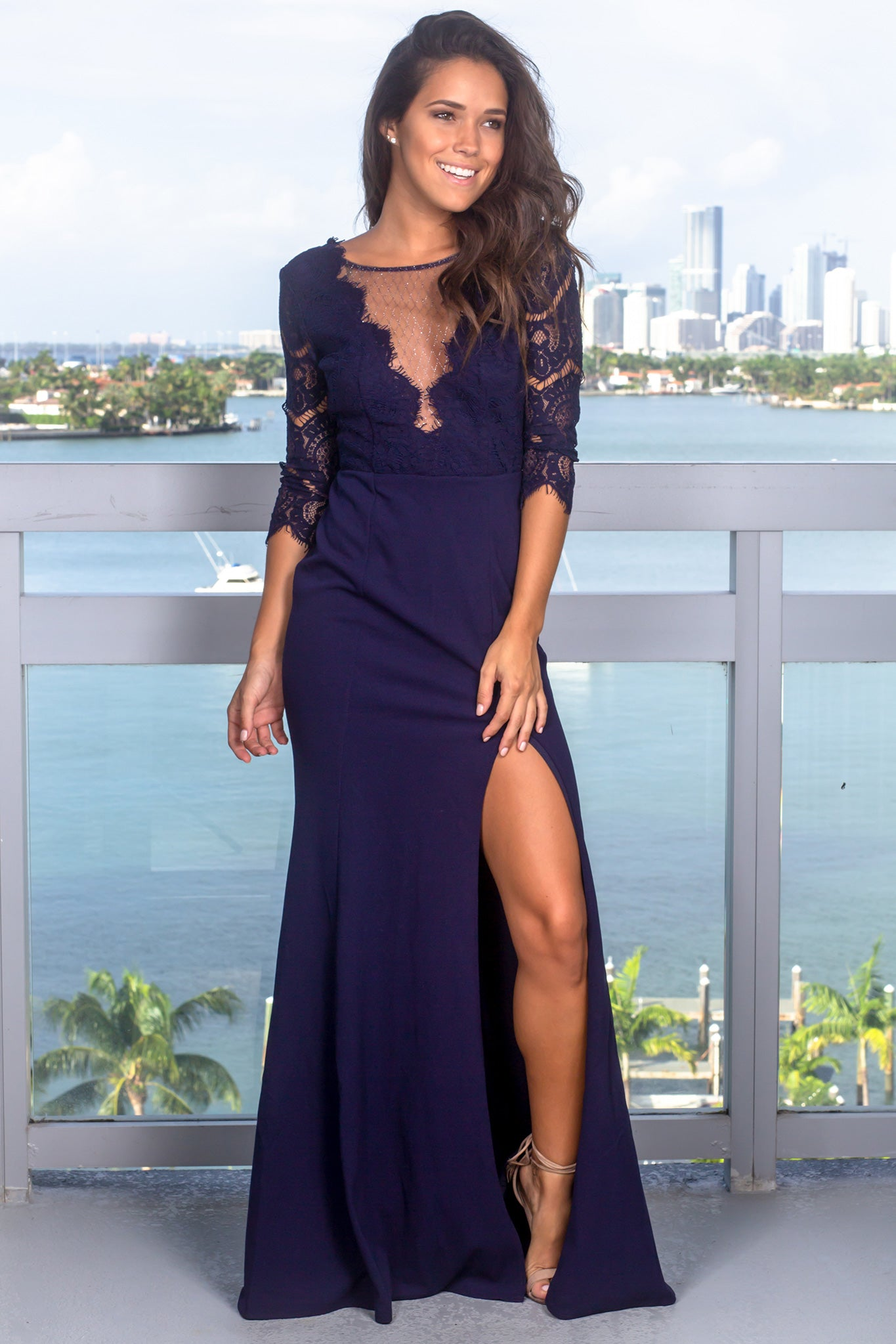 Navy Lace Top Maxi Dress with Silver Detail