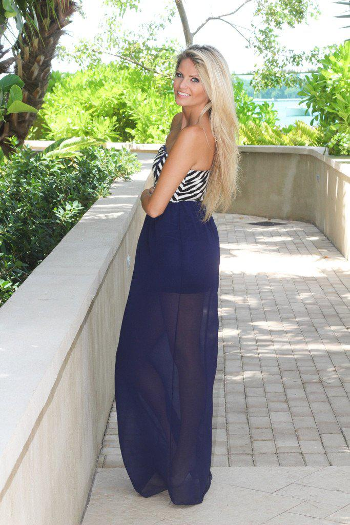 Navy Maxi Dress With Striped Top