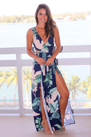 Navy Leaf Printed Maxi Dress