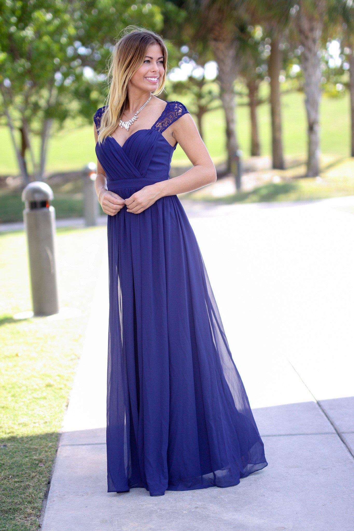 Navy Bridesmaid Maxi Dress | Bridesmaid Dresses – Saved by the Dress