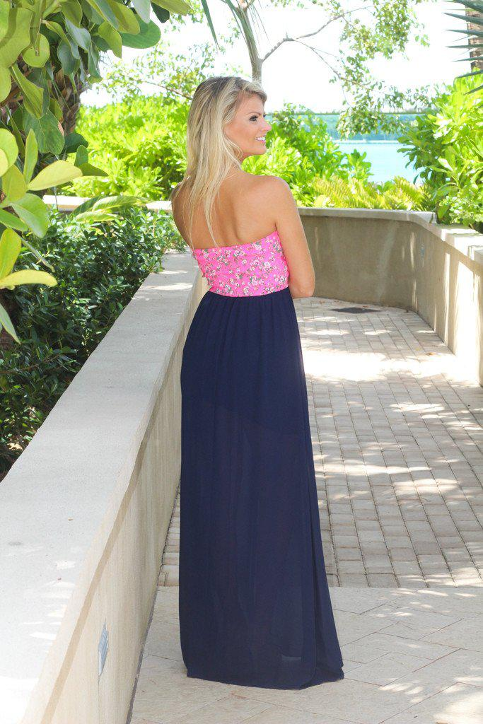 Navy Maxi Dress With Neon Pink Floral Top