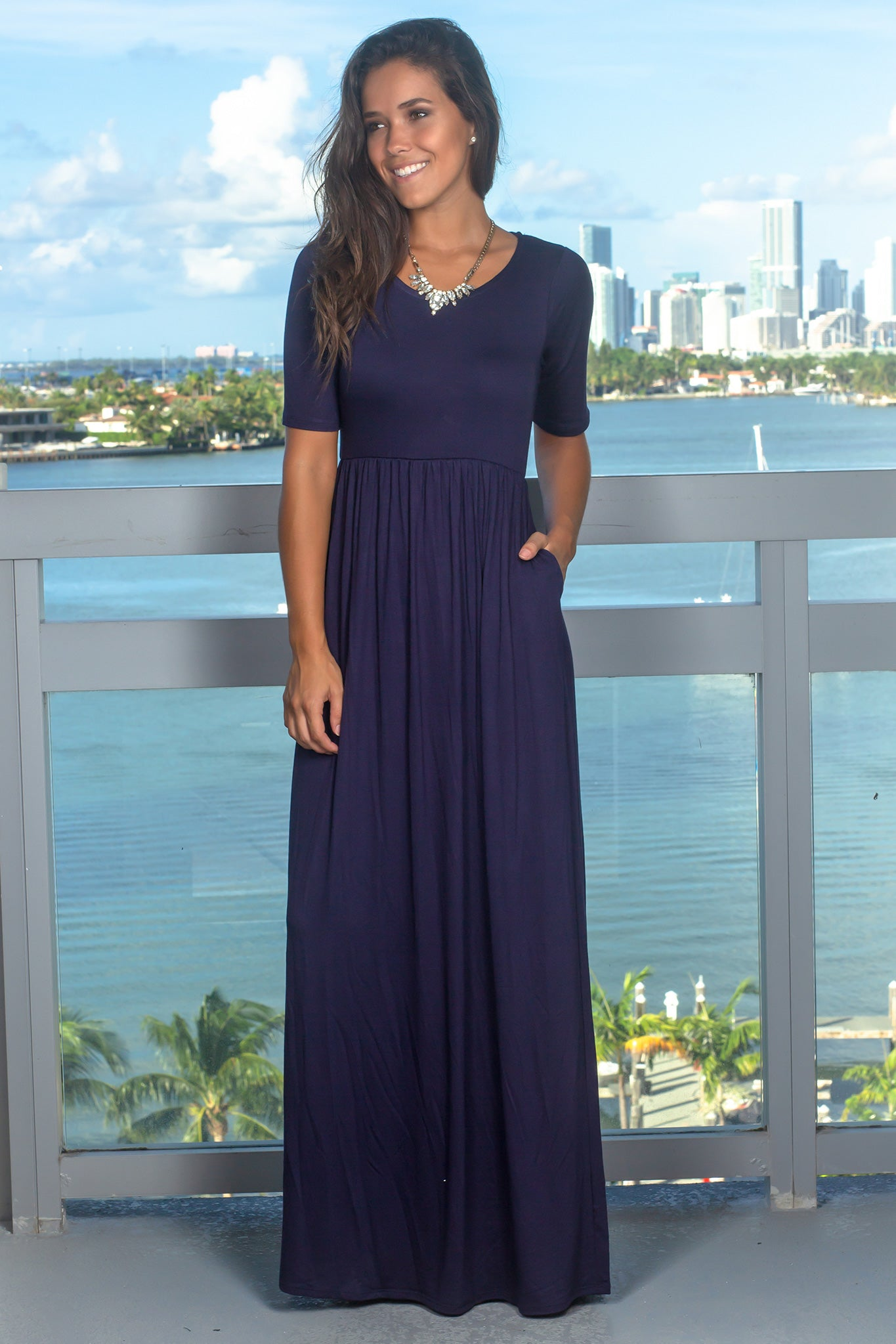 Navy Maxi Dress with 1/2 Sleeves
