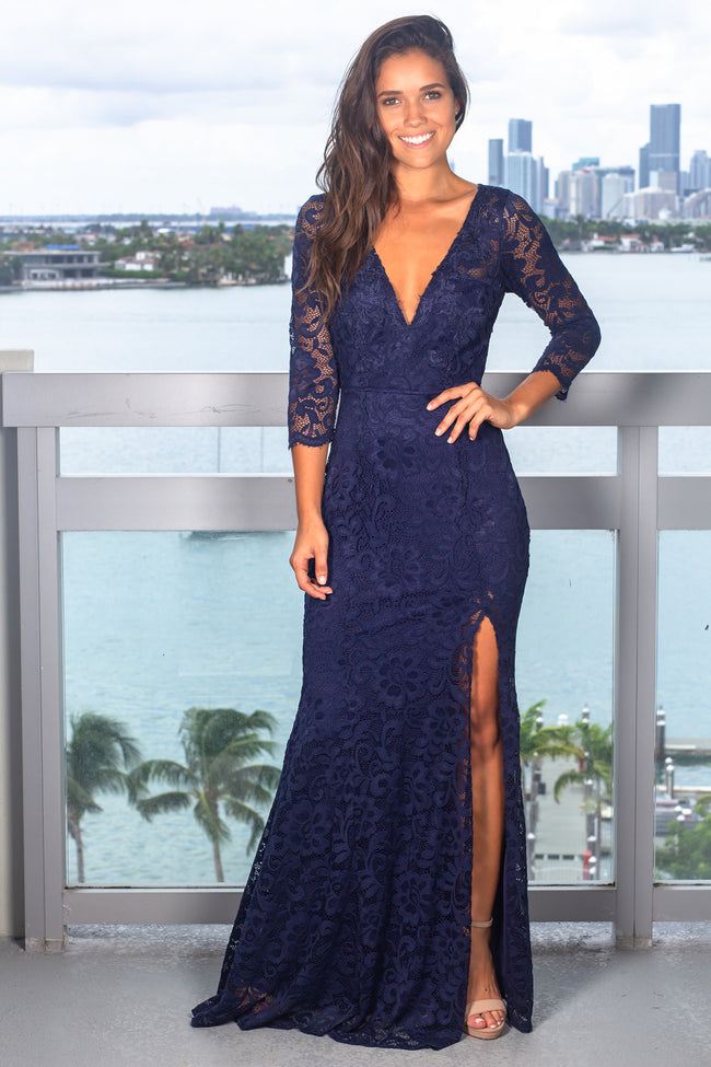 Navy Maxi Dress with 3/4 Sleeves