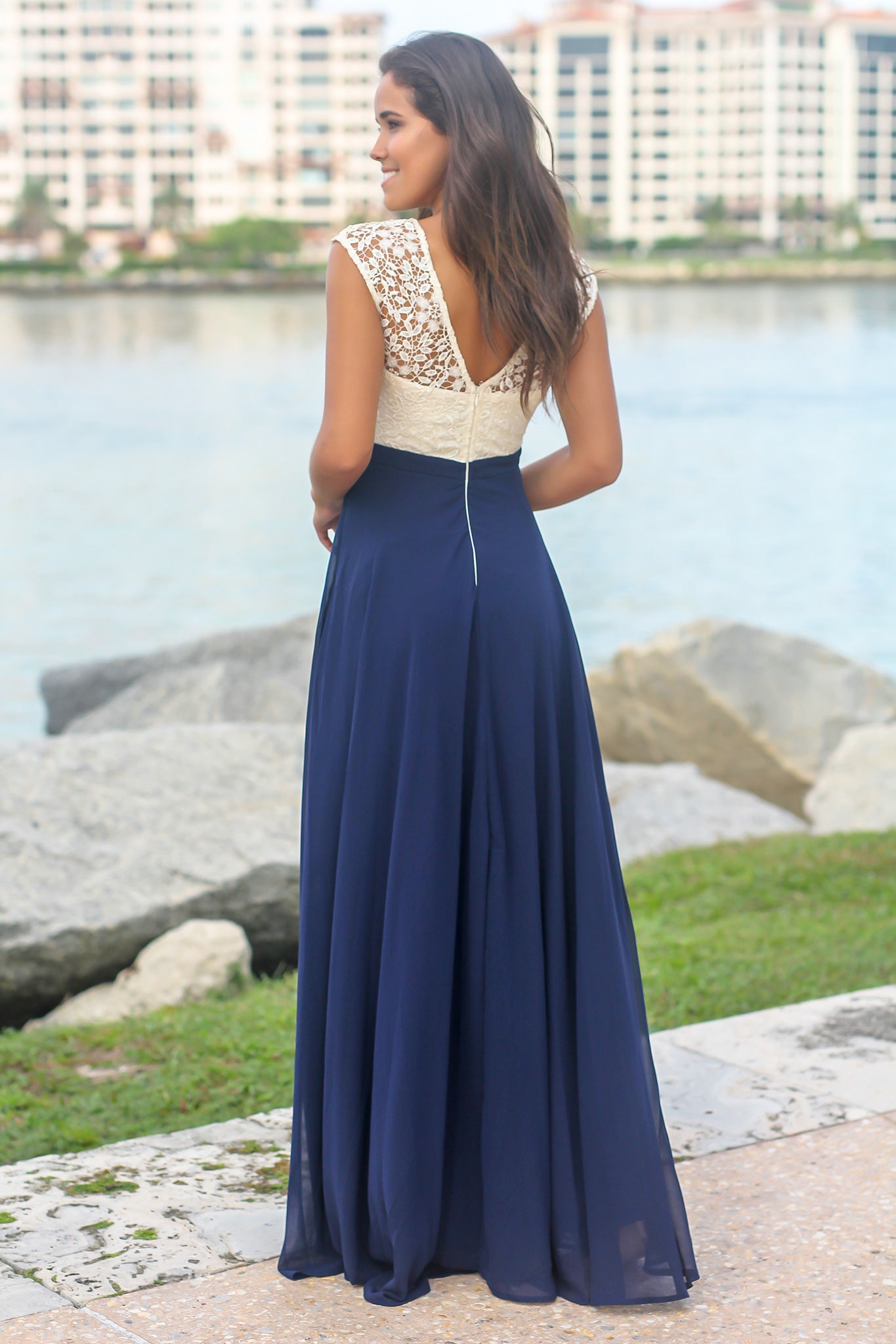 Navy Maxi Dress with Crochet Top