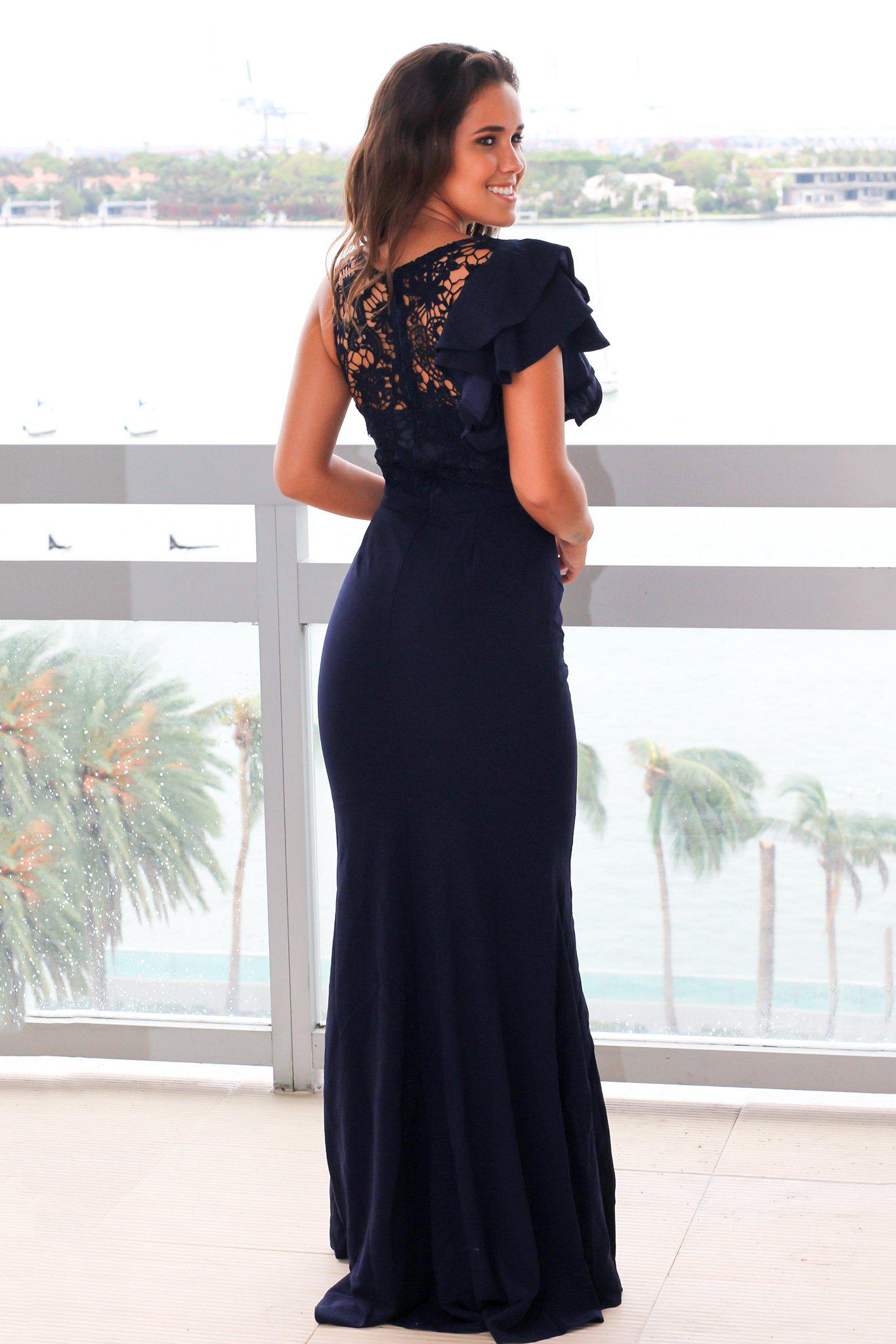 Navy Maxi Dress with Crochet Top and Ruffle Sleeve