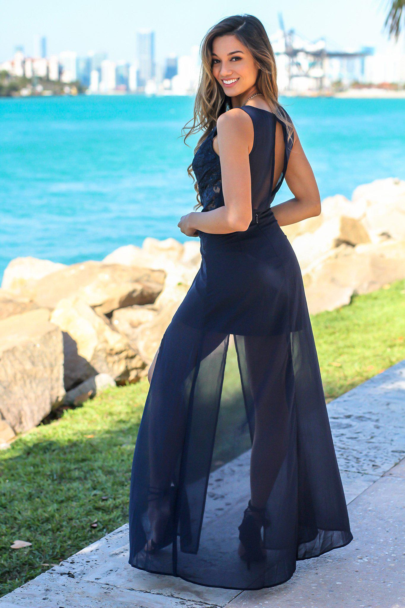 Navy Maxi Dress with Embroidered Top and Slit