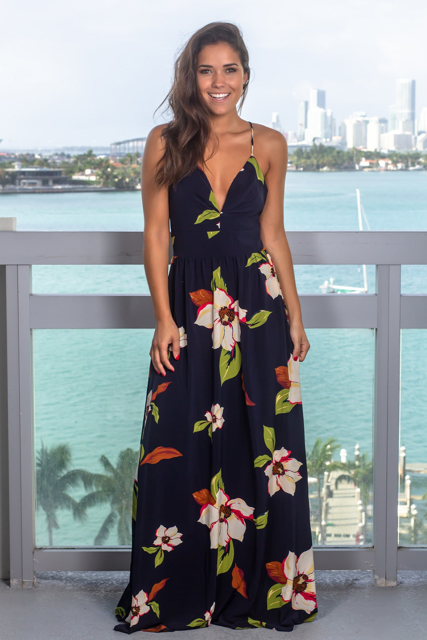 Navy Maxi Dress with Floral Detail