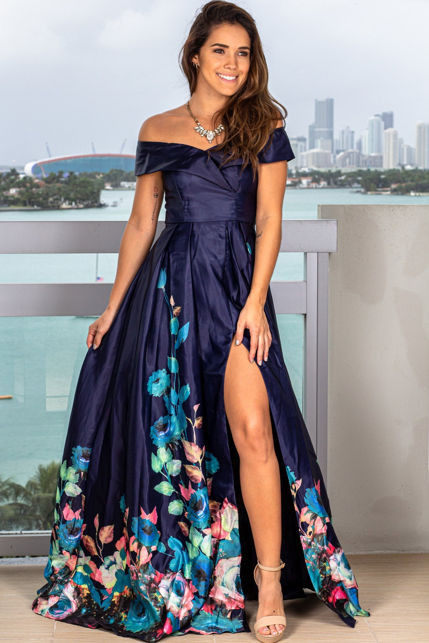 Navy Maxi Dress with Floral Print
