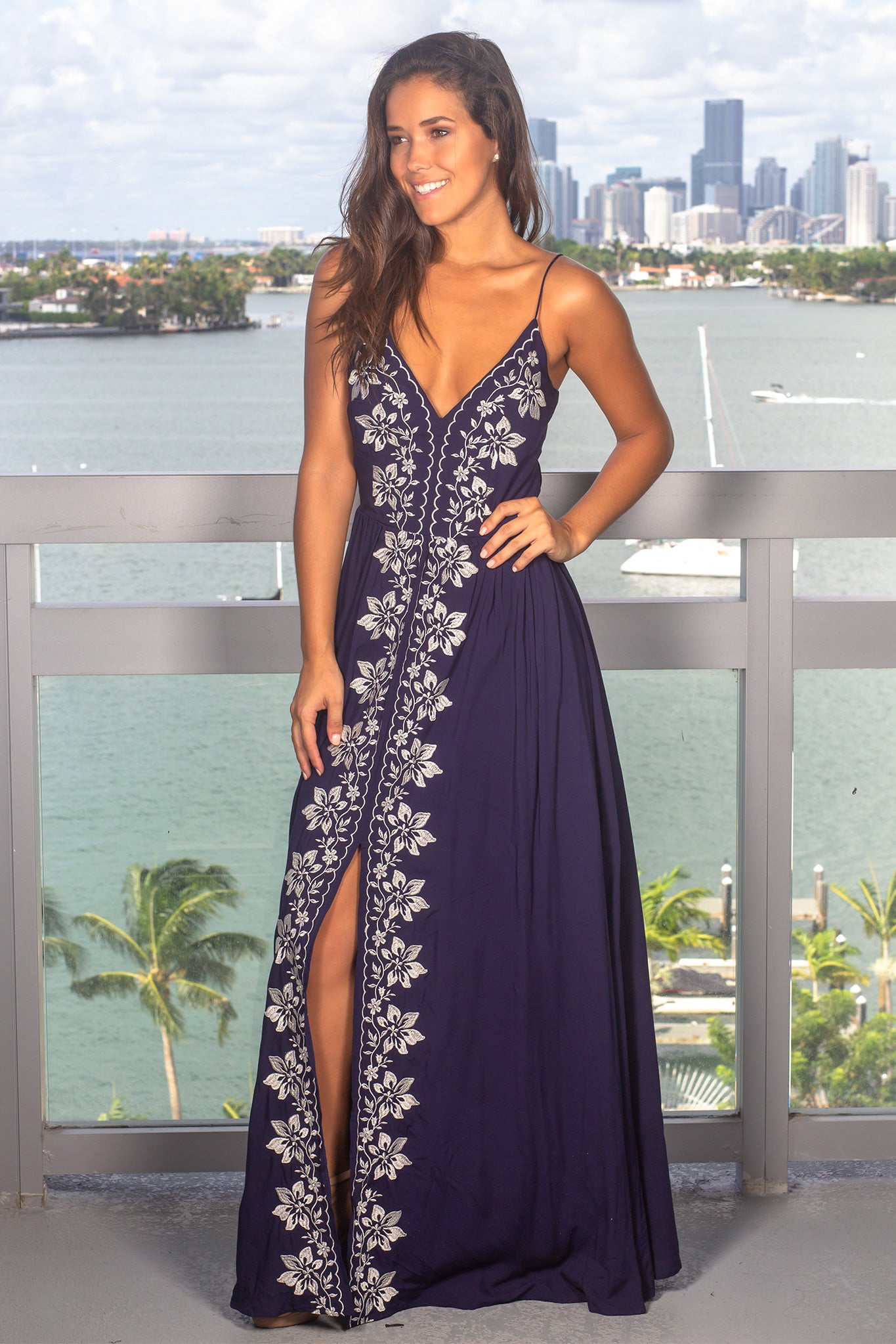 Navy Maxi Dress with Ivory Floral Embroidery