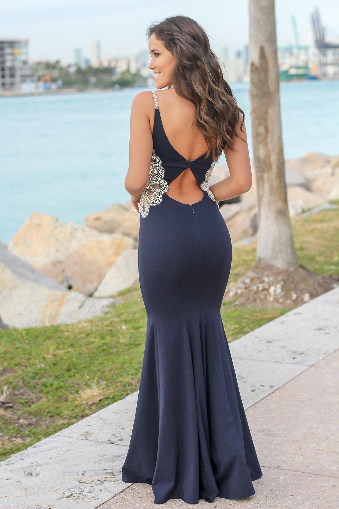 Navy Maxi Dress with Jeweled Detail